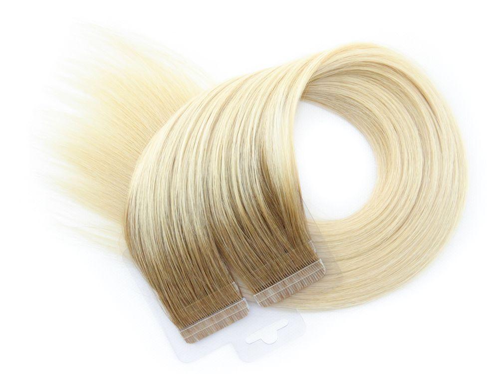 Mega Hair Fita Adesiva Cabelo Humano Premium Ombre #7/12 - 20 peças 45cm 40g