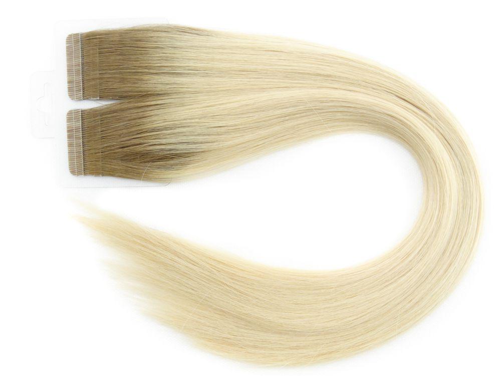 Mega Hair Fita Adesiva Cabelo Humano Premium Ombre #7/12 - 20 peças 65cm 60g