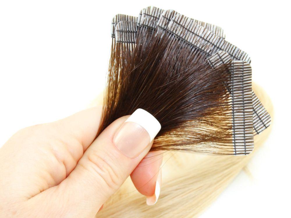 Mega Hair Fita Adesiva Cabelo Humano Premium Ombre Castanho e Loiro Claríssimo #4/10 - 10 peças 45cm 20g