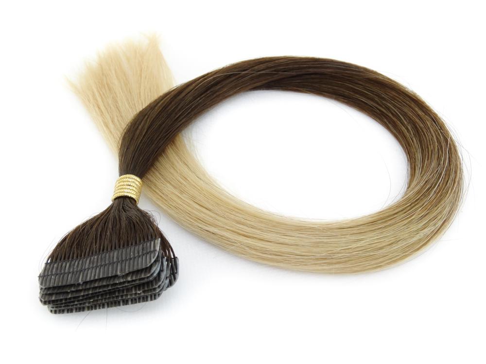 Mega Hair Fita Adesiva Cabelo Humano Premium Ombre Morena Iluminada - 10 peças 50cm 25g