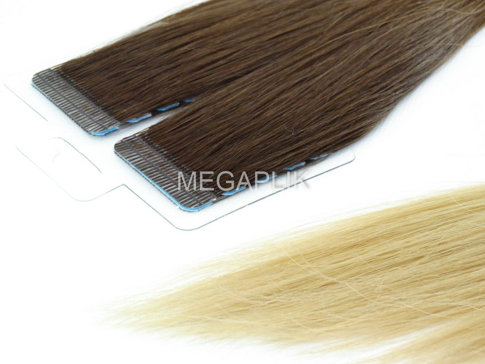 Mega Hair Fita Adesiva Cabelo Humano Premium Ombre Paris - 20 peças 55cm 50g