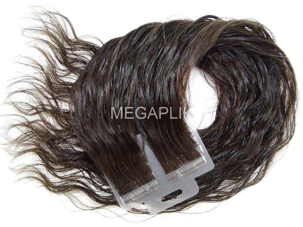Mega Hair Fita Adesiva Cabelo Humano Premium Ondulado Castanho Escuro Natural - 20 peças 45cm 40g