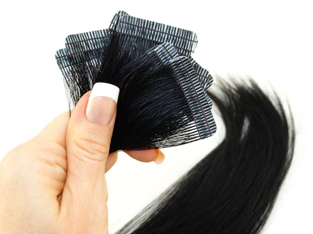 Mega Hair Fita Adesiva Cabelo Humano Premium Preto #1 - 10 peças 35cm 15g