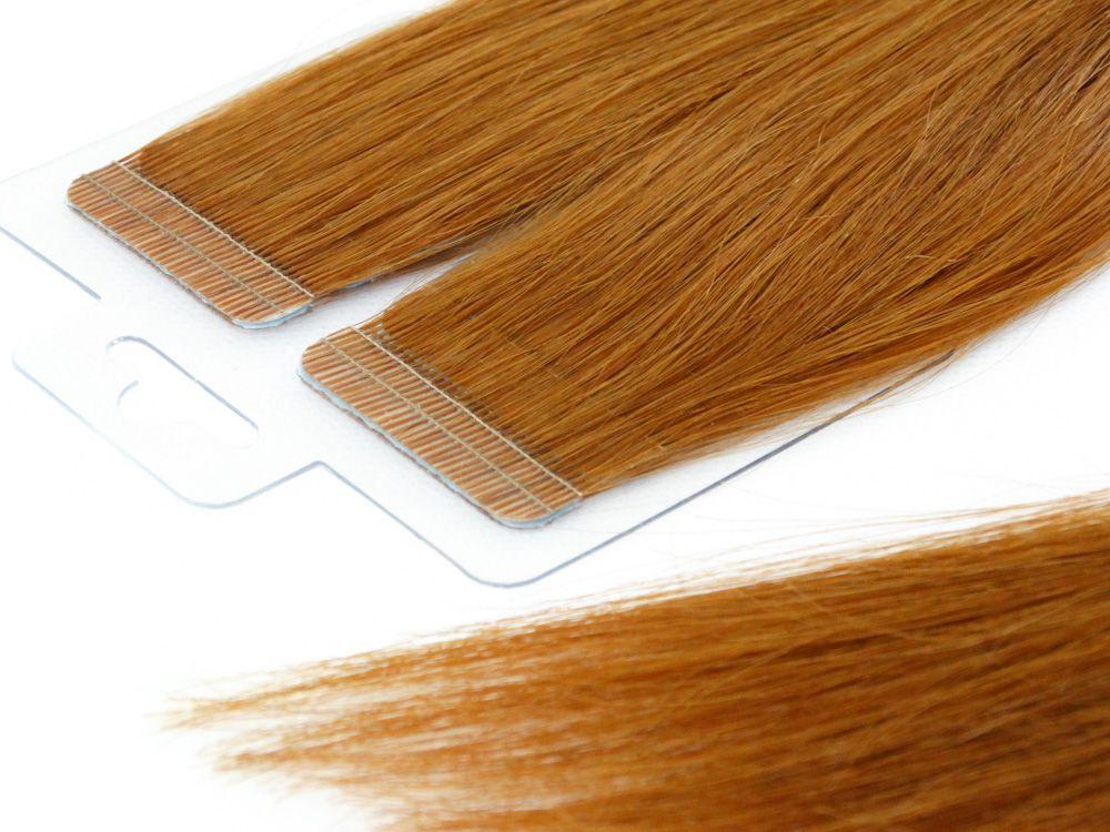 Mega Hair Fita Adesiva Cabelo Humano Premium Ruivo #67 - 20 peças 45cm 40g