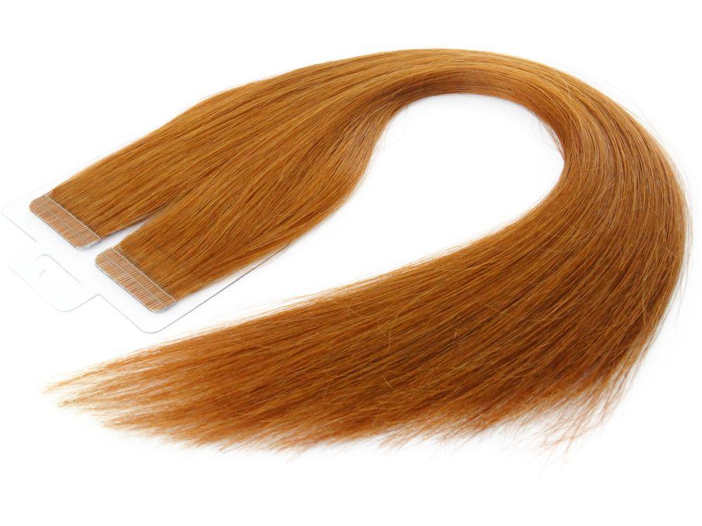 Mega Hair Fita Adesiva Cabelo Humano Premium Ruivo #67 - 20 peças 55cm 50g