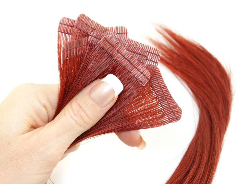 Mega Hair Fita Adesiva Cabelo Humano Premium Vermelho #98 - 10 peças 45cm 20g