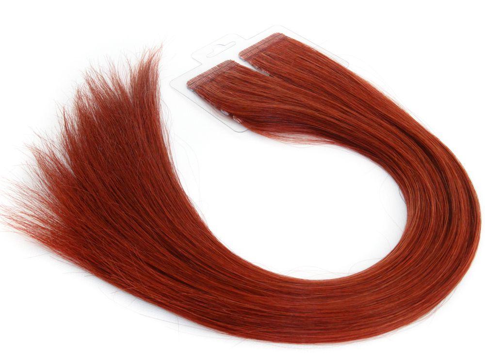 Mega Hair Fita Adesiva Cabelo Humano Premium Vermelho #98 - 20 peças 55cm 50g