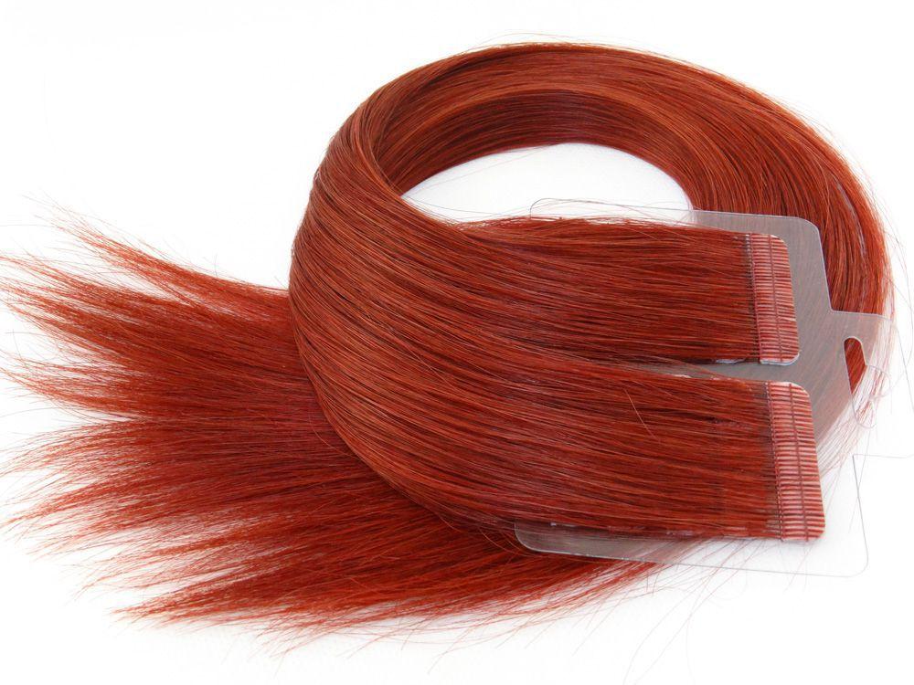 Mega Hair Fita Adesiva Cabelo Humano Premium Vermelho #98 - 20 peças 65cm 60g