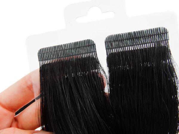 Mega Hair Fita Adesiva Premium 20 peças 35cm Preto #1 Cabelo Humano