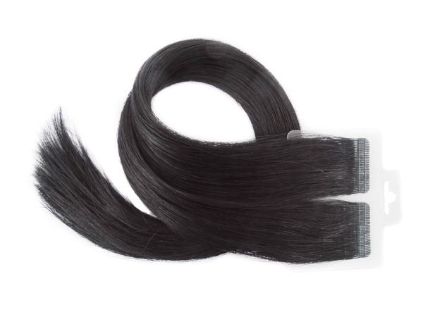 Mega Hair Fita Adesiva Premium 20 peças 55cm Preto #1 Cabelo Humano