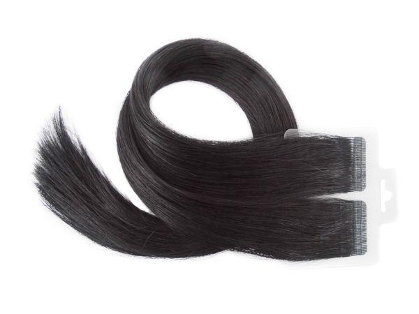 Mega Hair Fita Adesiva Premium 20 peças 65cm Preto #1 Cabelo Humano