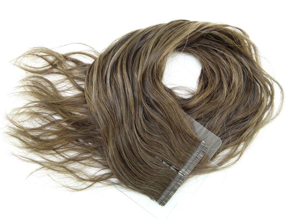 Mega Hair Fita Adesiva Cabelo Humano Premium Ondulado Castanho Claro #6 - 20 peças 55cm 50g
