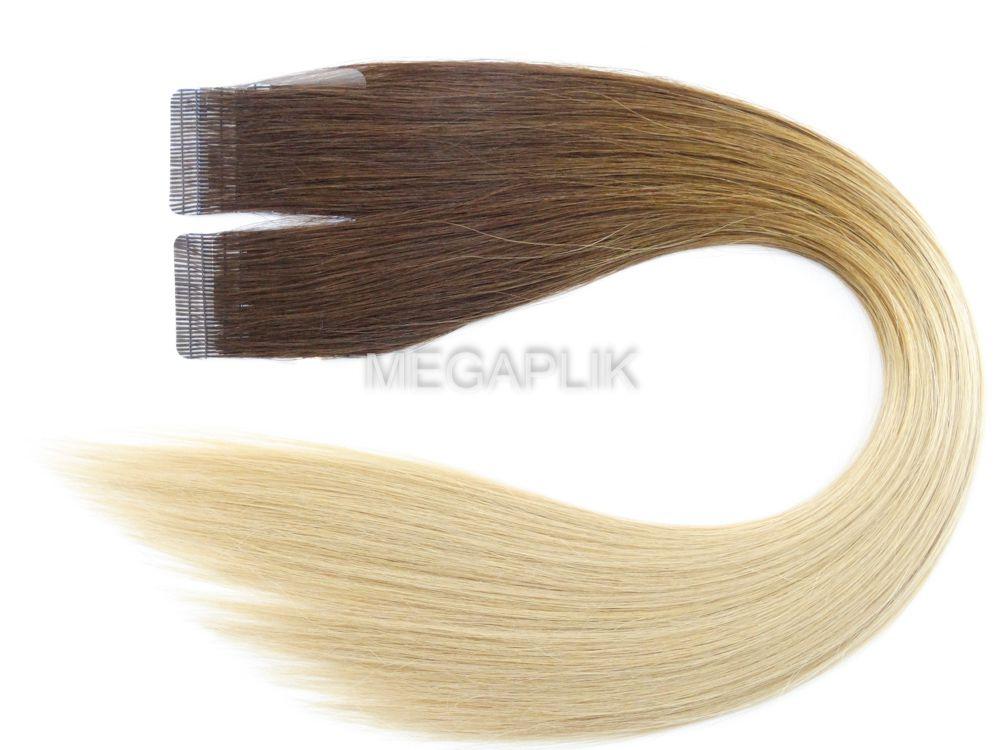 Mega Hair Fita Adesiva Premium 20 peças Ombre Paris Cabelo Humano 35cm, 45cm, 55cm e 65cm