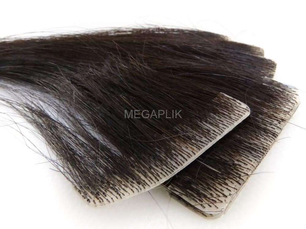 Mega Hair Invisível Cabelo Humano Castanho Escuro Natural - 10 peças 55cm 25g