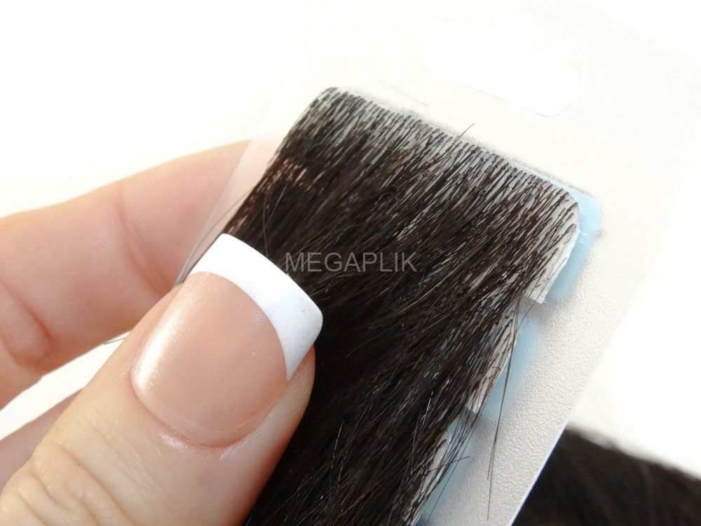 Mega Hair Invisível Cabelo Humano Premium Castanho Escuro Natural - 10 peças 45cm 15g