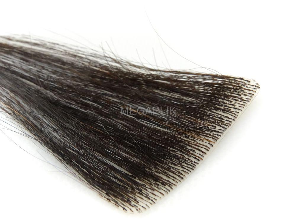 Mega Hair Invisível Cabelo Humano Premium Castanho Escuro Natural Ombre - 10 peças 45cm 15g