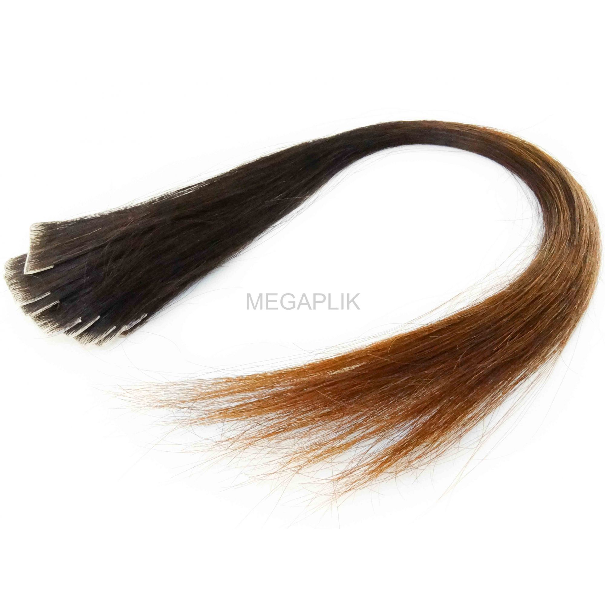Mega Hair Invisível Cabelo Humano Castanho Escuro Natural Ombre - 10 peças 45cm 15g