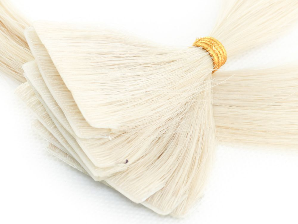 Mega Hair Invisível Cabelo Humano Loiro Platinado #12 - 10 peças 45cm 20g
