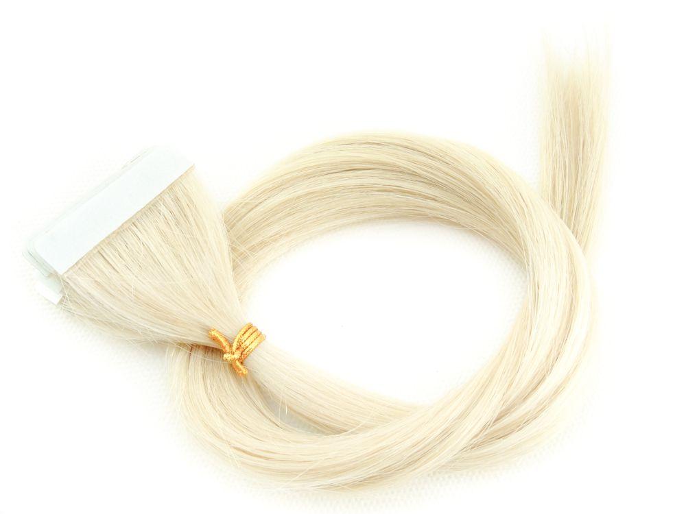 Mega Hair Invisível Cabelo Humano Loiro Platinado #12 - 10 peças 55cm 25g