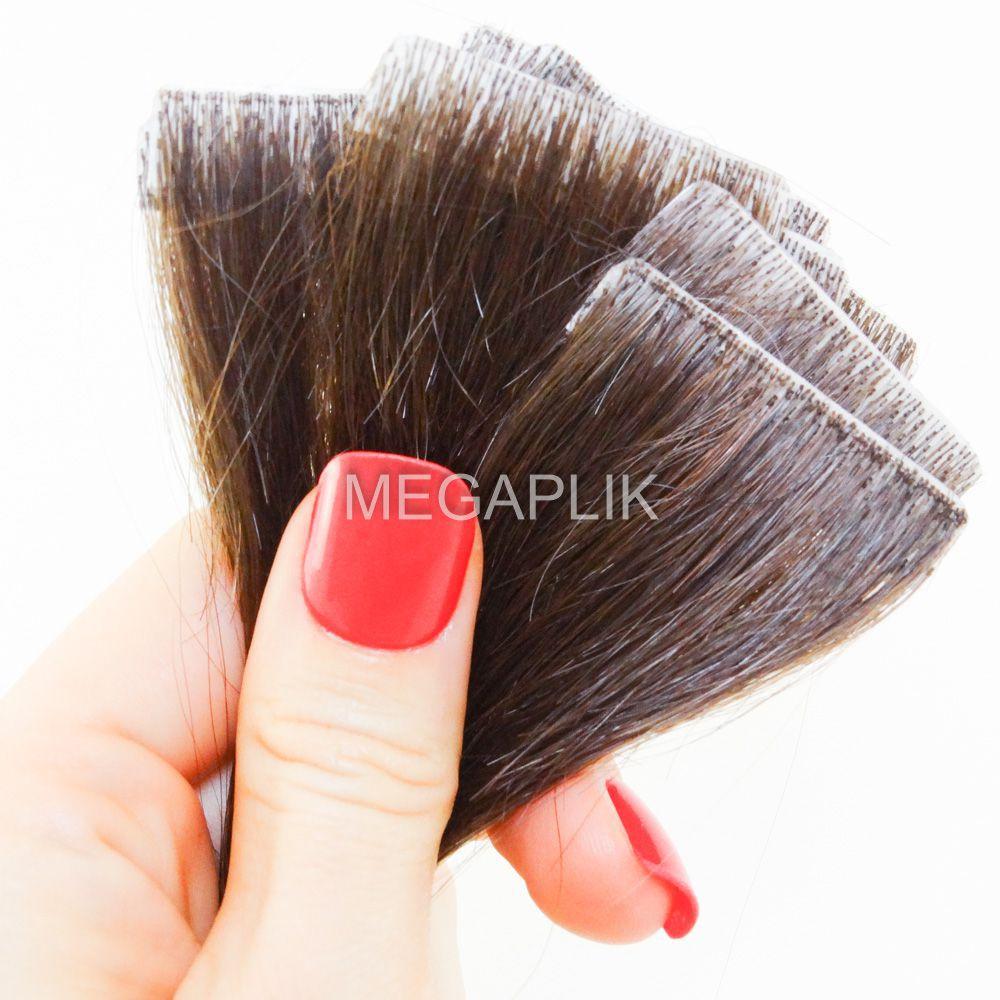 Mega Hair Invisível Cabelo Humano Castanho Claro #6 - 10 peças 45cm 20g