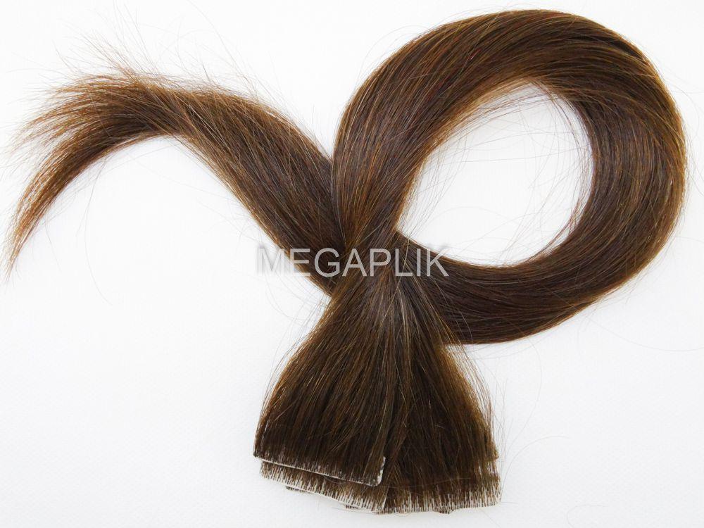 Mega Hair Invisível Cabelo Humano Premium Castanho Claro #6 - 10 peças 45cm 20g