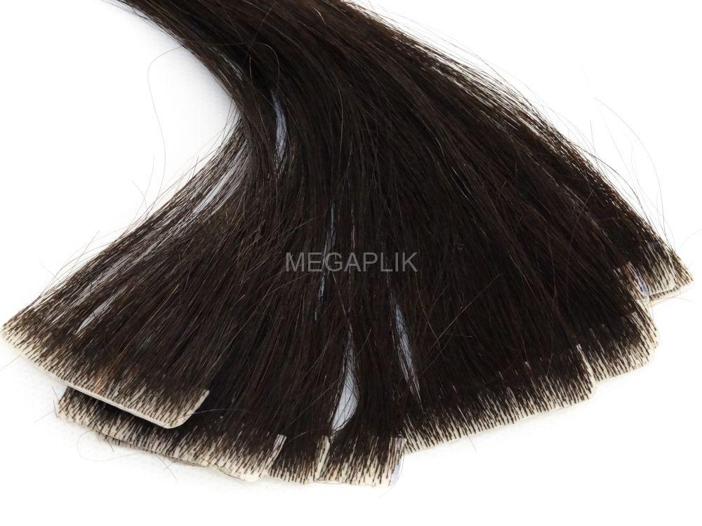 Mega Hair Invisível 10 Peças Castanho Escuro Natural Cabelo Humano 55cm