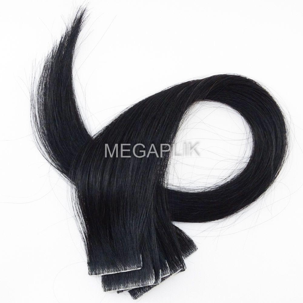 Mega Hair Invisível 10 Peças Preto Intenso #1 Cabelo Humano 45cm
