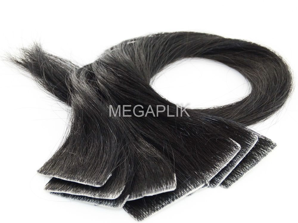 Mega Hair Invisível Cabelo Humano Preto #1 - 10 peças 45cm 20g