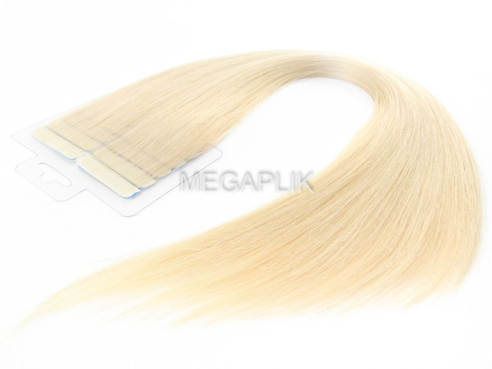 Mega Hair Fita Adesiva Premium 20 peças Loiro Claríssimo #10 Cabelo Humano 35cm, 45cm, 55cm e 65cm