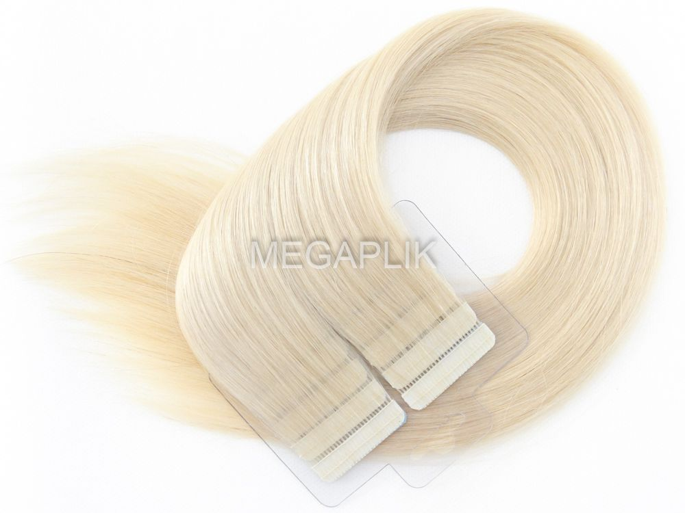 Mega Hair Fita Adesiva Premium 20 peças Loiro Platinado #12 Cabelo Humano 35cm, 45cm, 55cm e 65cm