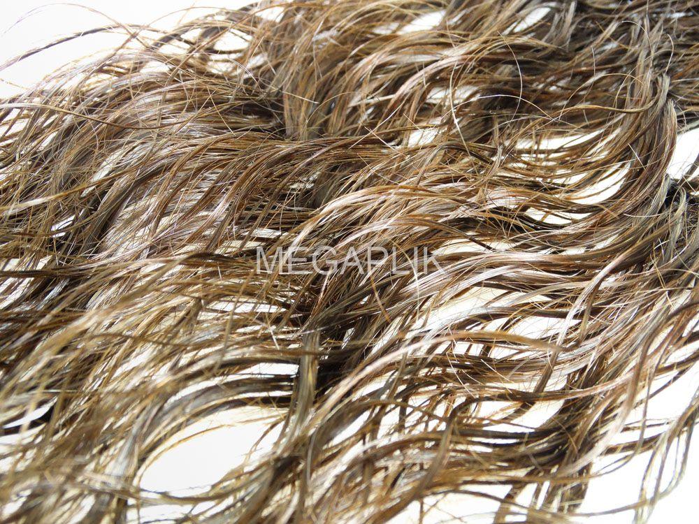 Mega Hair Fita Adesiva Premium 20 peças Castanho Claro #6 Cabelo Humano Ondulado 55cm