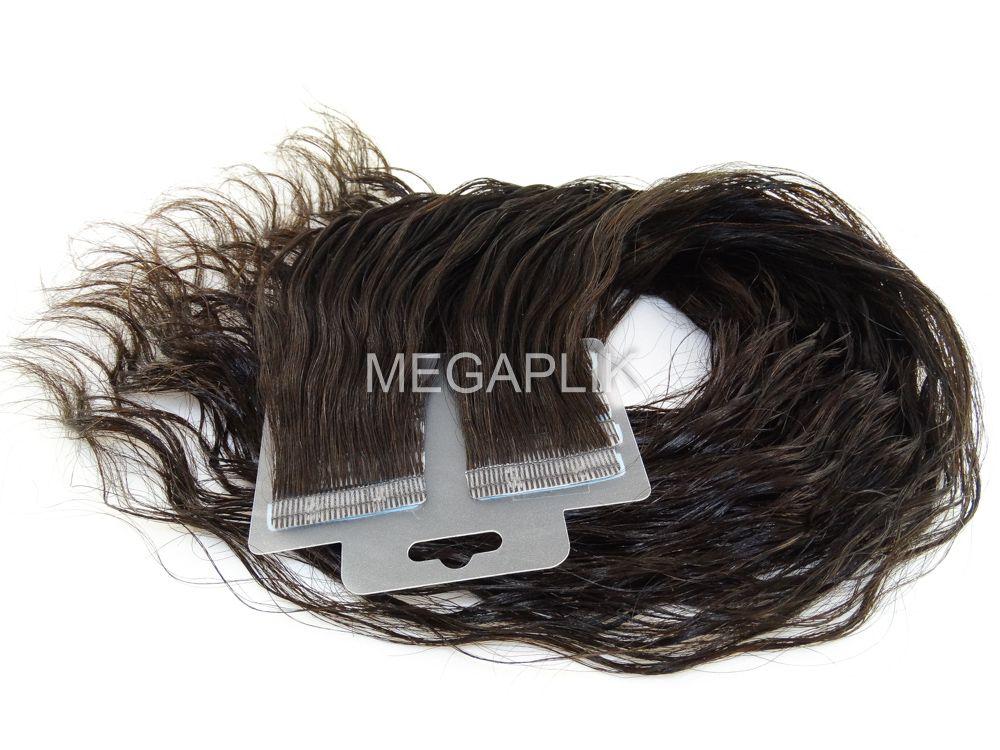 Mega Hair Fita Adesiva Cabelo Humano Premium Ondulado Castanho Escuro Natural - 20 peças 55cm 50g