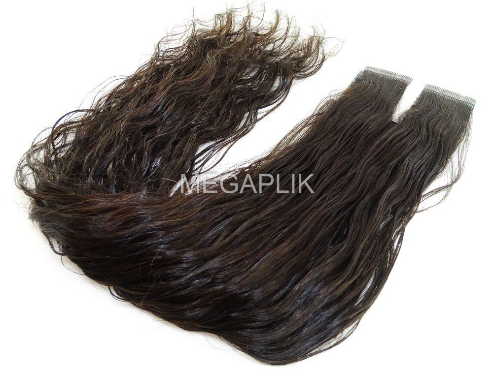 Mega Hair Ondulado Castanho Natural Fita Adesiva Premium - Cor Natural