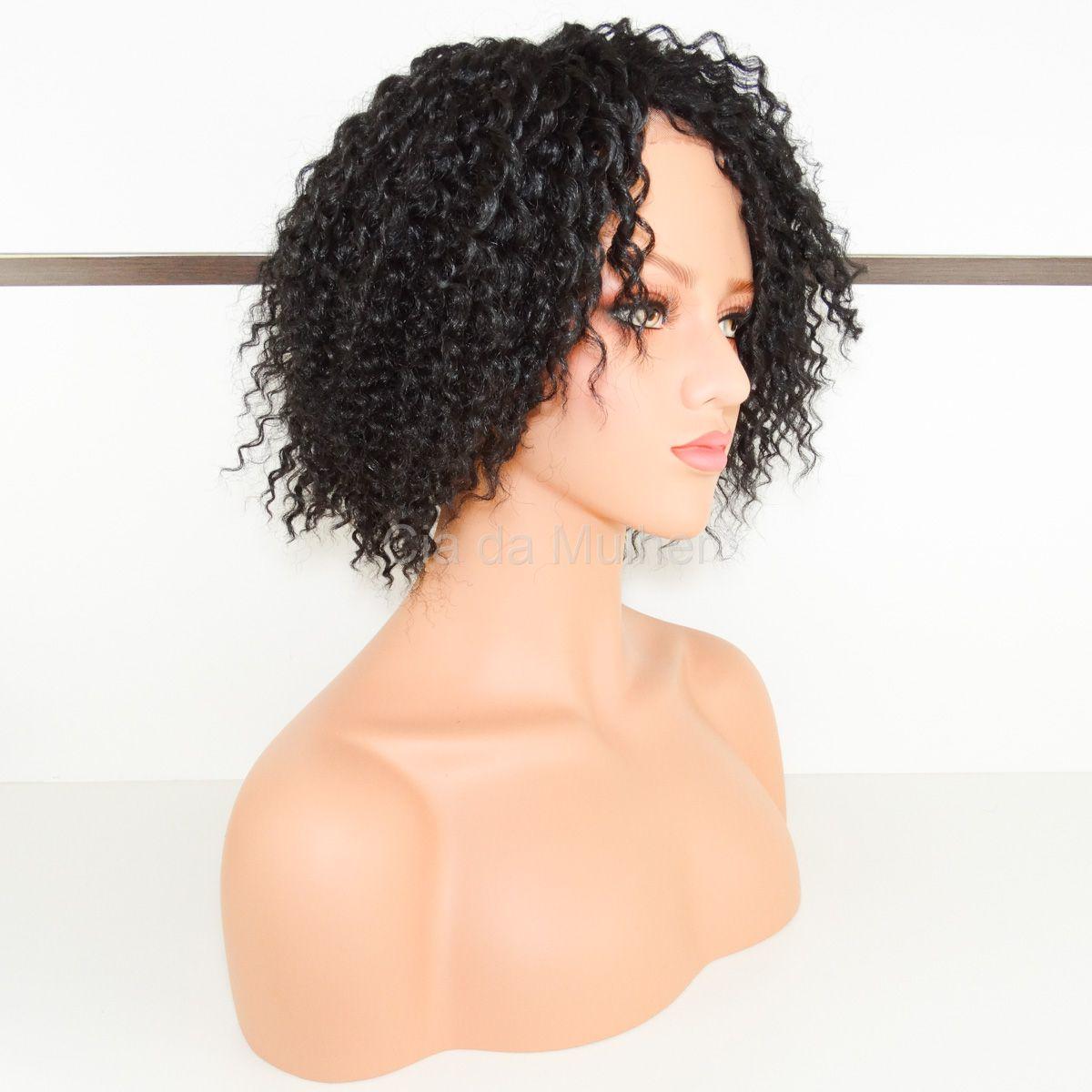 Peruca Afro Curta Front Lace Fibra Futura - 30 cm