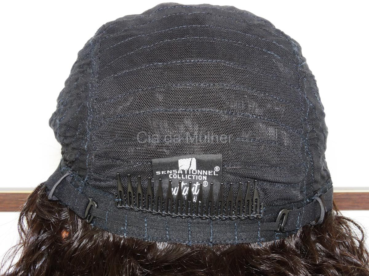 Peruca Cacheada Longa Castanho Escuro Fibra Futura - 65 cm