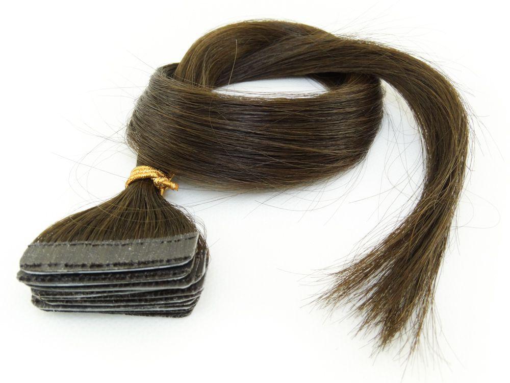 Mega Hair Fita Adesiva Cabelo Humano Classic Castanho Claro #6 - 10 peças 55cm 25g