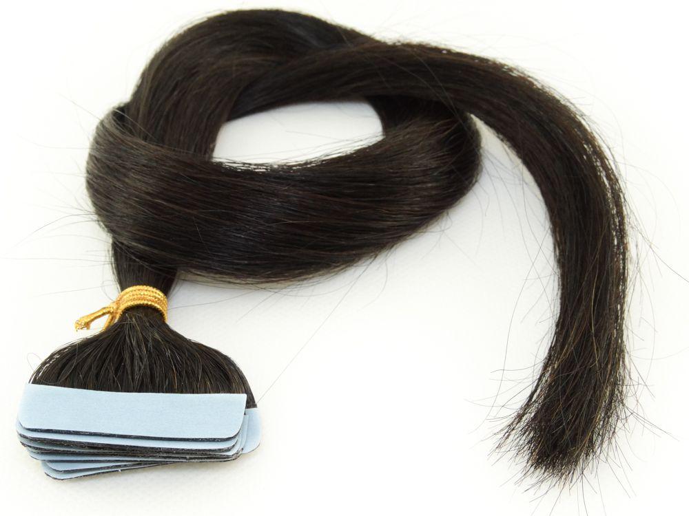 Mega Hair Fita Adesiva Cabelo Humano Classic Castanho Escuro #3 - 10 peças 55cm 25g