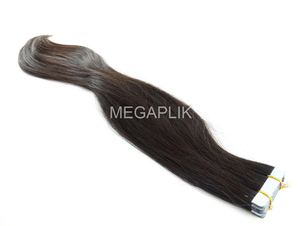 PROMOÇÃO 20% - Mega Hair Fita Adesiva Cabelo Humano Classic Castanho Escuro Natural - 20 peças 45cm 40g