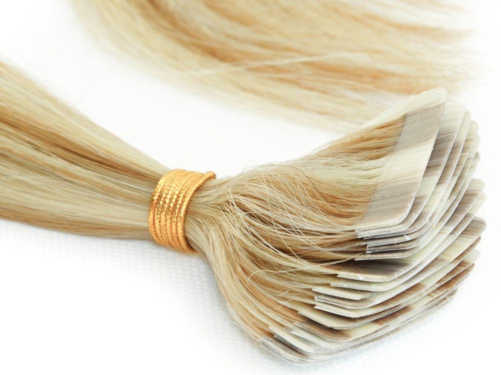 Mega Hair Fita Adesiva Cabelo Humano Classic Loiro Mechado #9/12 - 20 peças 55cm 50g