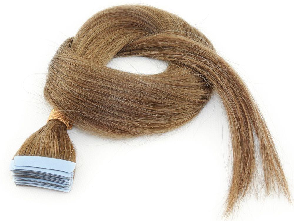 Mega Hair Fita Adesiva Cabelo Humano Classic Loiro Médio/Escuro #7 - 20 peças 60cm 55g