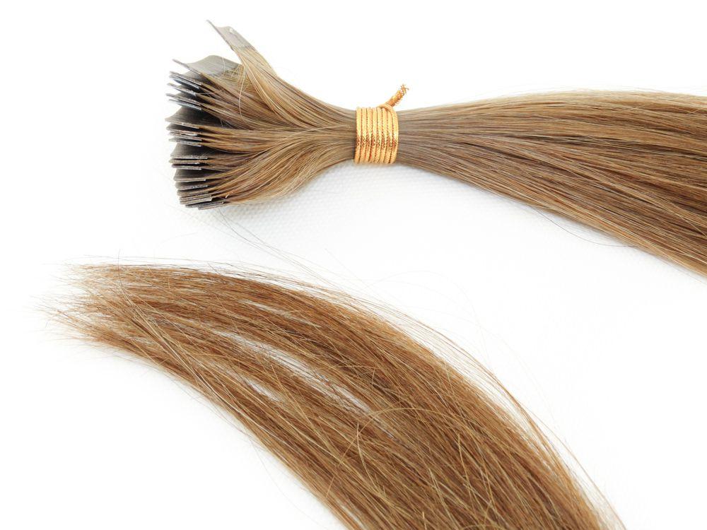 Mega Hair Fita Adesiva Cabelo Humano Classic Loiro Médio/Escuro #7 - 20 peças 65cm 55g