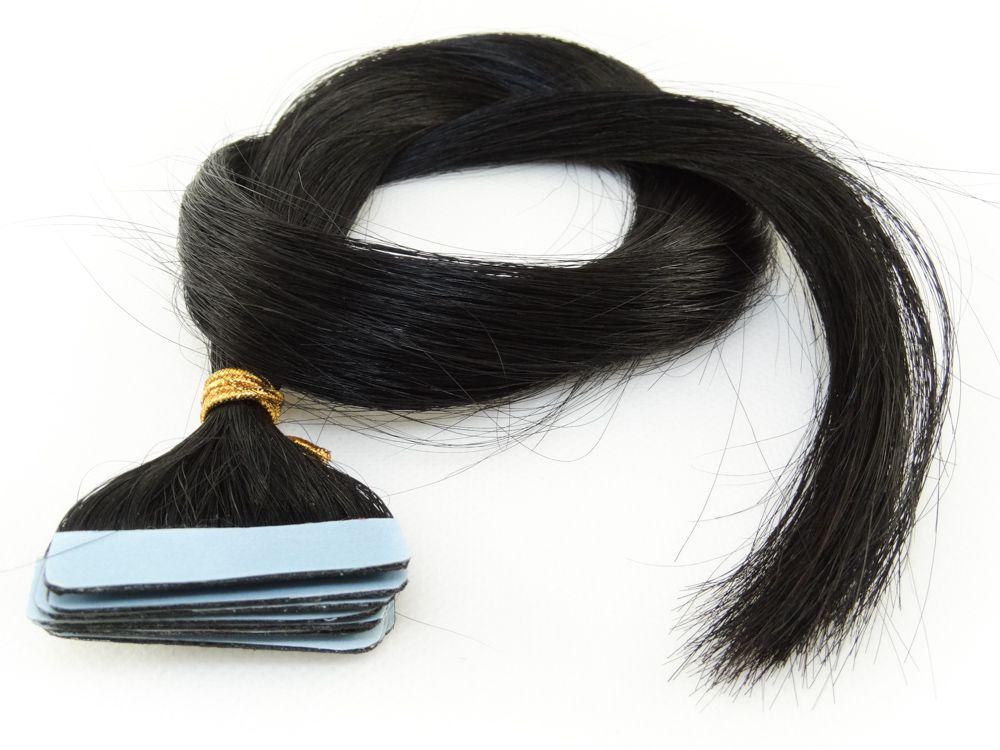Mega Hair Fita Adesiva Cabelo Humano Classic Preto #1 - 10 peças 55cm 25g