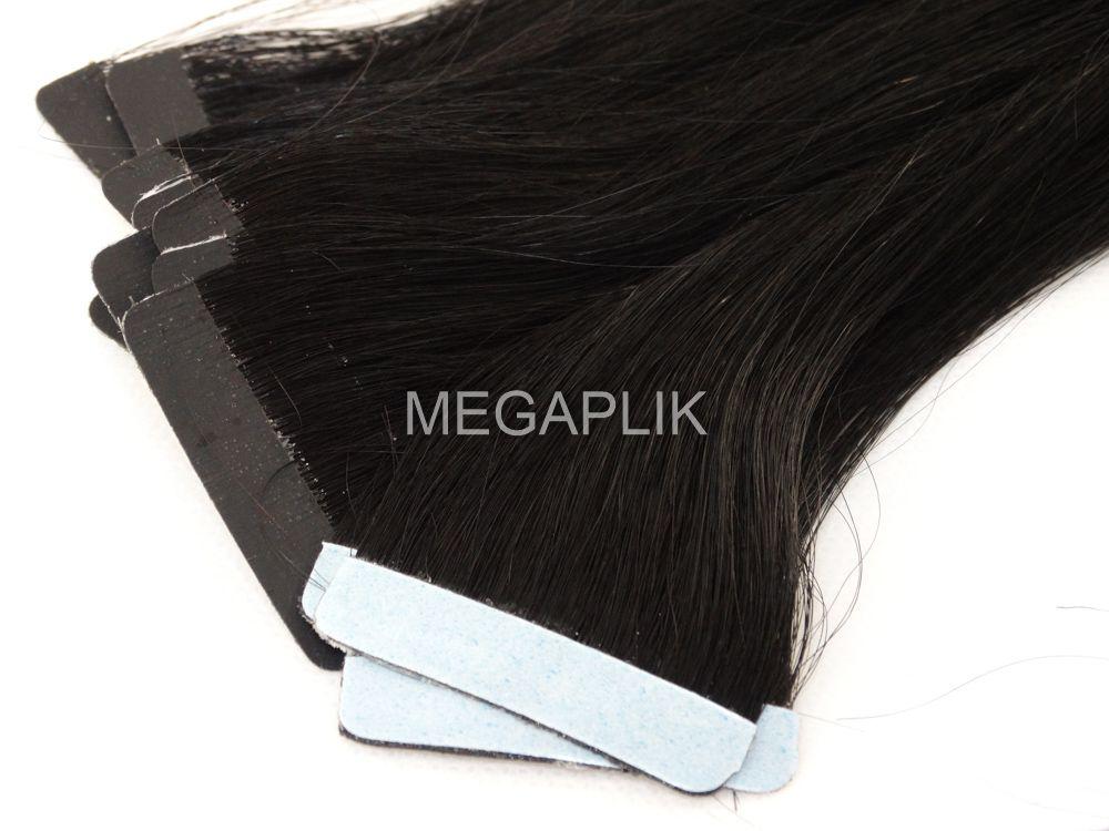 PROMOÇÃO 20% - Mega Hair Fita Adesiva Cabelo Humano Classic Preto #1 - 20 peças 45cm 40g