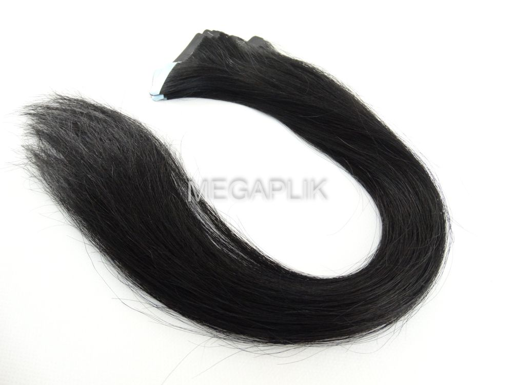 PROMOÇÃO 20% - Mega Hair Fita Adesiva Cabelo Humano Classic Preto #1 - 20 peças 55cm 50g