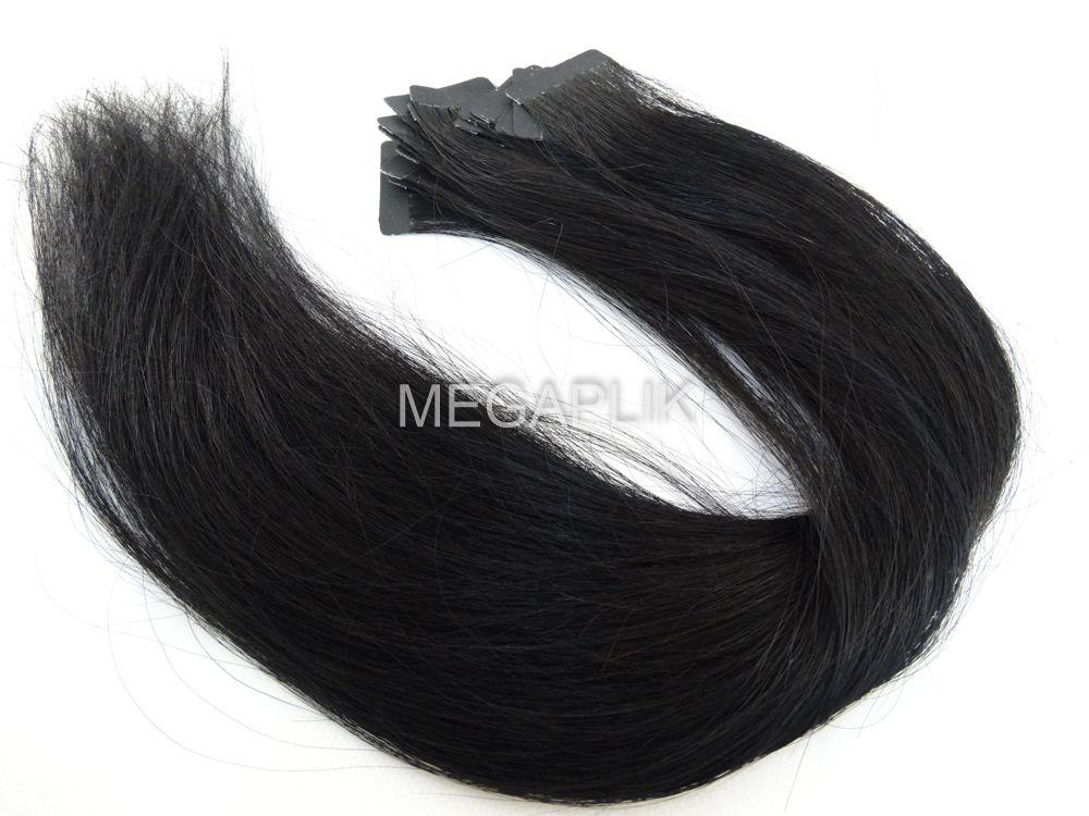 PROMOÇÃO 20% - Mega Hair Fita Adesiva Cabelo Humano Classic Preto #1 - 20 peças 65cm 60g