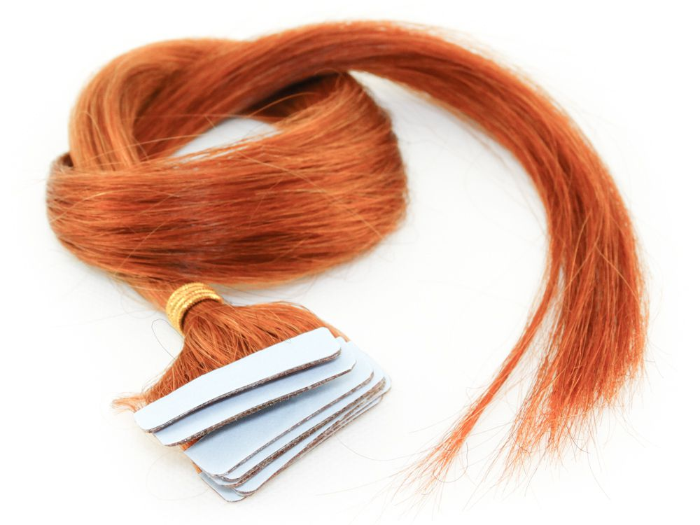 Mega Hair Fita Adesiva Cabelo Humano Classic Ruivo - 10 peças 55cm 25g