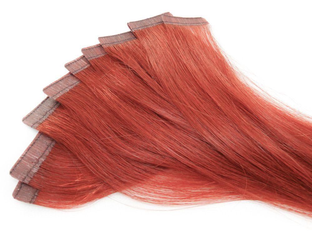 Mega Hair Fita Adesiva Cabelo Humano Classic Vermelho #98 - 10 peças 55cm 25g