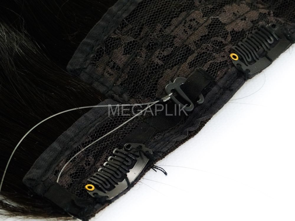 Aplique Mágico Tiara Tic Tac Cabelo Humano Castanho Escuro Natural - 55cm 120g