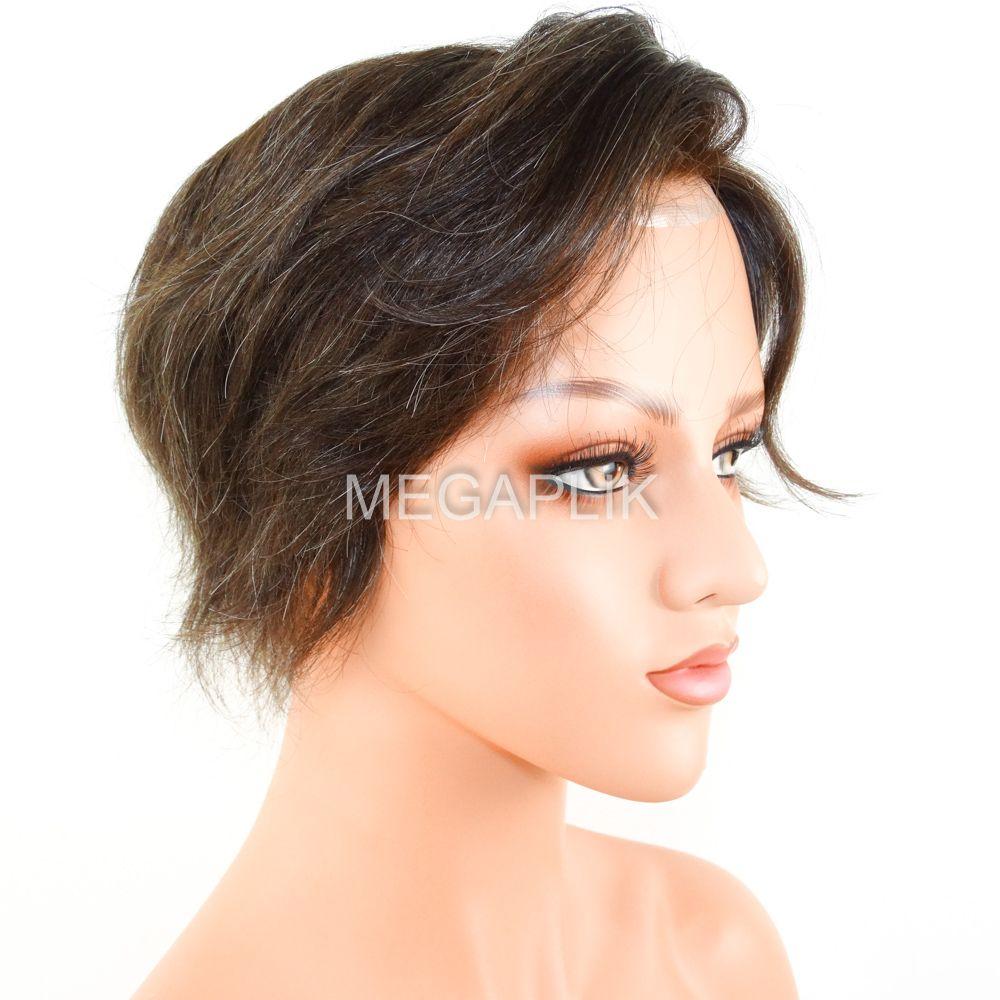 Prótese Capilar Full Lace Cabelo Humano Castanho Escuro Natural 20% Grisalho