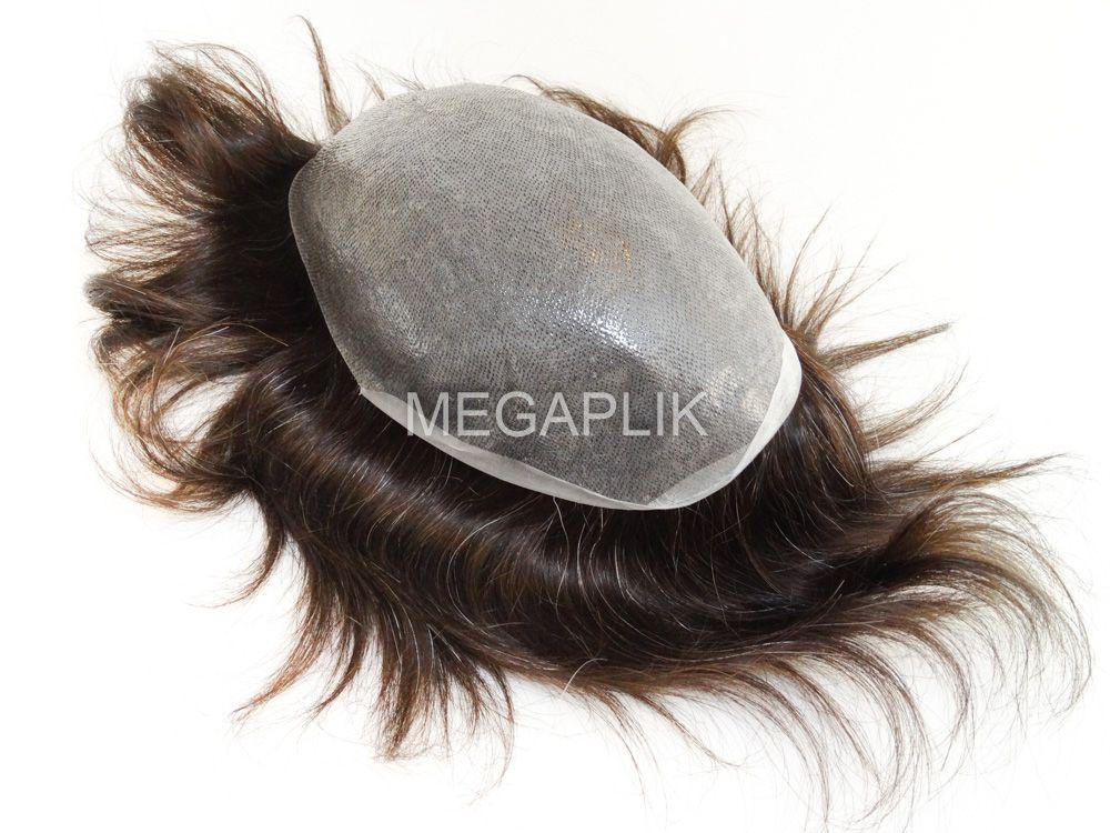 Prótese Capilar Micropele Cabelo Humano Castanho Escuro Natural 10% Grisalho